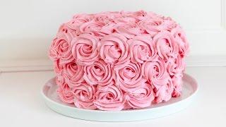 Rosentorte mit Erdbeeren und Himbeeren - Buttercreme Rosen Torte Rezept