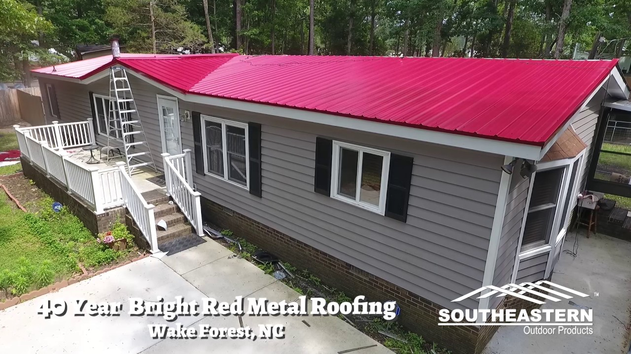 40 Year Bright Red Metal Roofing Wake Forest, North Carolina