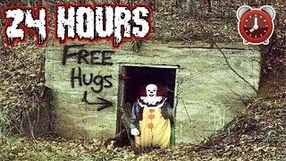 (FREE HUGS?!) OVERNIGHT CHALLENGE at CLOWN FOREST | I FOLLOWED THE FREE CANDY SIGNS BUT HE SAW ME