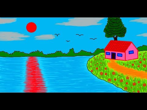 How to draw a Scenery in MS Paint | Simple Easy Painting ...