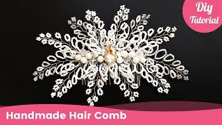 Bridal Beaded Hair Comb for Wedding. Handmade Hair Accessories for Beginners.