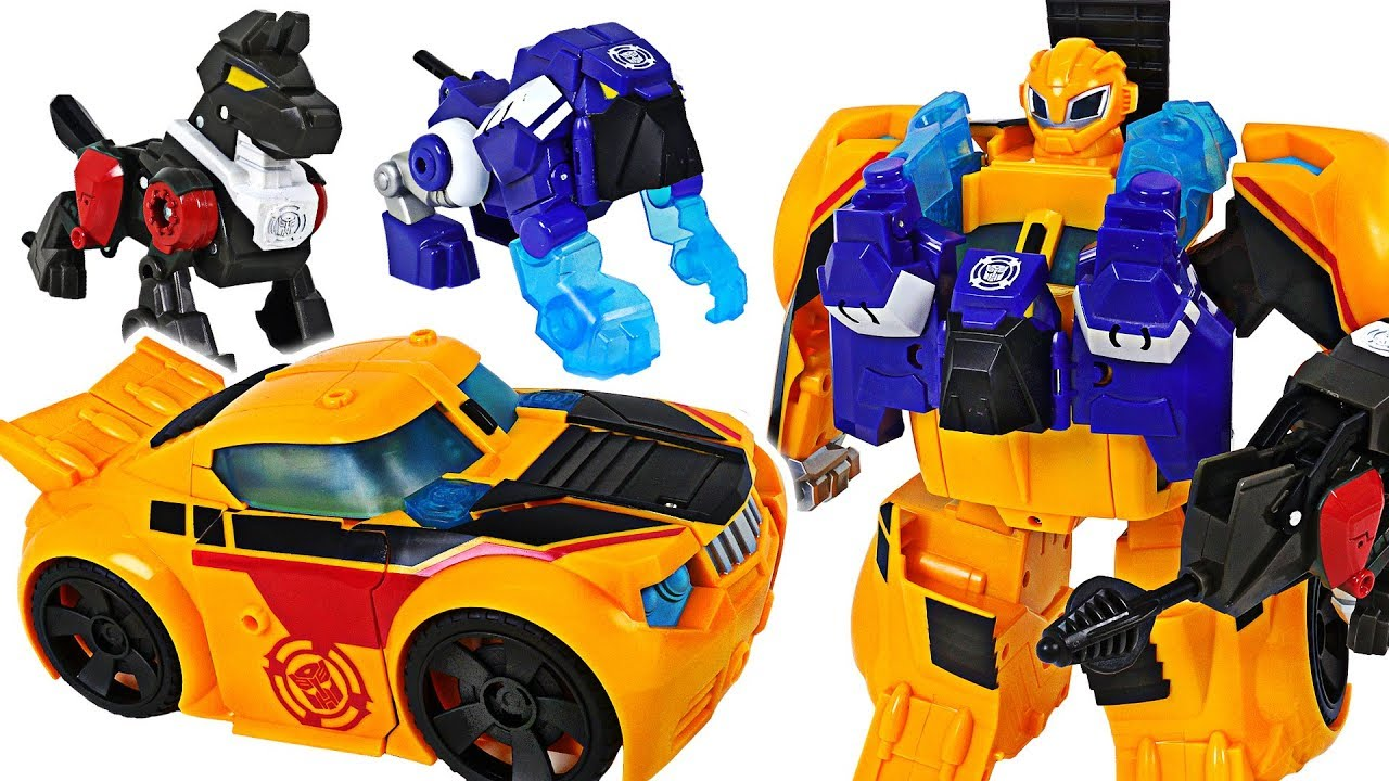 Transformers Rescue Bots Bumblebee Rescue Guard! Defeat dinosaur, octopus monster! - DuDuPopTOY