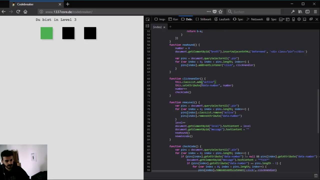 GAME LOGIK! Eine Art Mastermind in Javascript