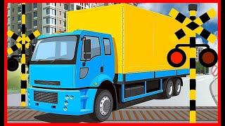 【トラックと踏切 電車③】幼児向け★いろんなトラックが踏切を通過するよ★ はたらくくるま / Truck and train railroad crossing animation