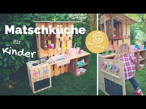 Kinderküche selber bauen - Matschküche aus Paletten - Spielküche aus Holz im Garten