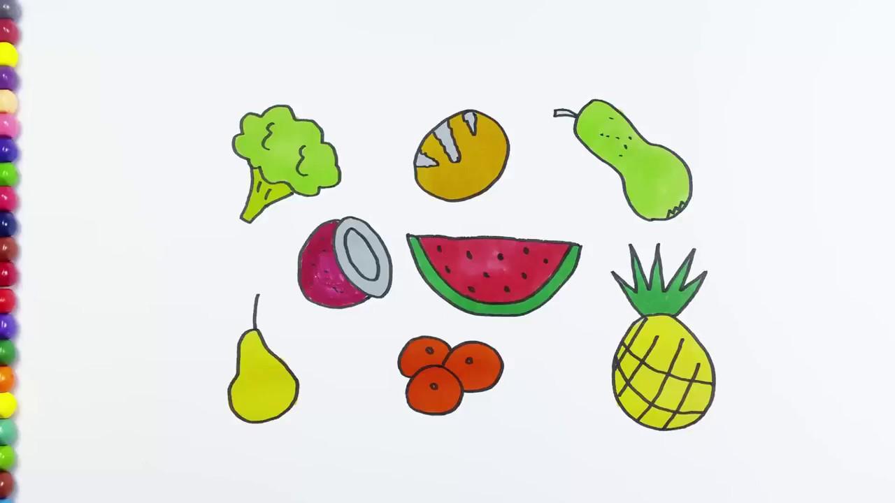 Cara Menggambar Mewarnai Buah Dan Sayur Di Dapur Youtube