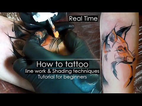 How to tattoo - line work & Shading techniques - Tutorial for beginners [Real Time] Сolor fill in