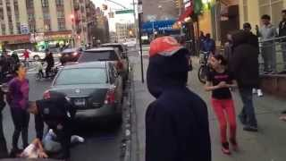 Girl slammed by cops after block fight in the Bronx!