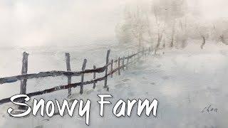 Watercolor landscape painting - snowy farm