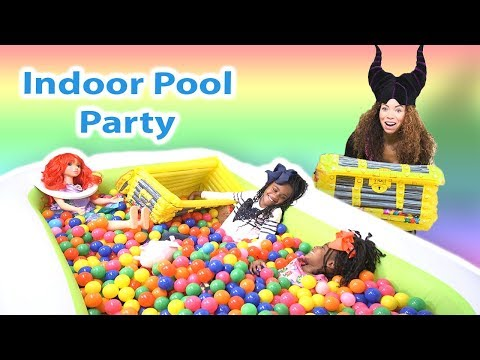 Indoor Pool Party with Ariel and Maleficent Go To Jail! Pretend Play Kids