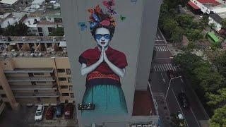 Giant mural honors Frida Kahlo in Guadalajara, Mexico   AFP