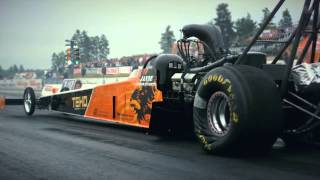 Topfuel dragster race slow motion (topmethanol backfire, exhaust flame)