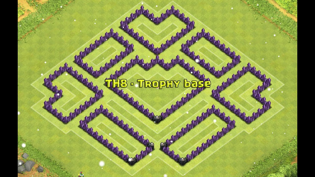 Coc th8 trophy base 4 mortar youtube
