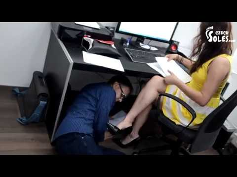 Foot worship in office.