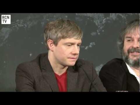 Martin Freeman, Ian McKellen & Peter Jackson Interview - Funny Faces & Christopher Lee