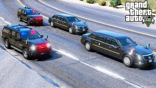 GTA 5 Presidential Mod - The Beast Limo & Secret Service Escorting President Trump To Air Force One