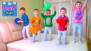 Learn Colors and Numbers with Five Little Babies Jumping On The Bed with colorful balloons