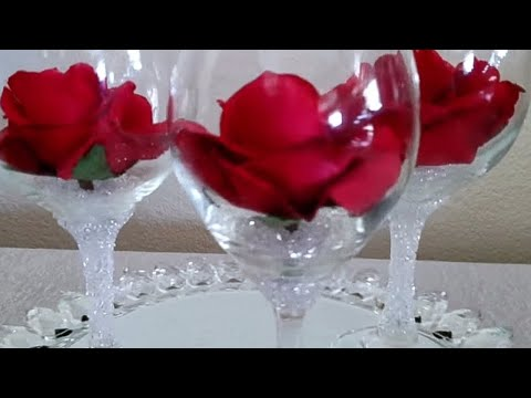 DIY| BLING DOLLAR TREE CRYSTAL STONE WINE GLASS CENTERPIECE 2018
