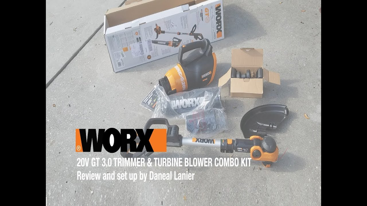 Worx 20v Gt 3 0 Trimmer Turbine Blower Combo Kit Review And Set Up