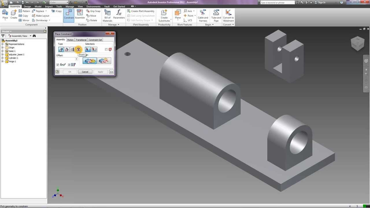 How To Assembly Using Autodesk Inventor 2012 Youtube