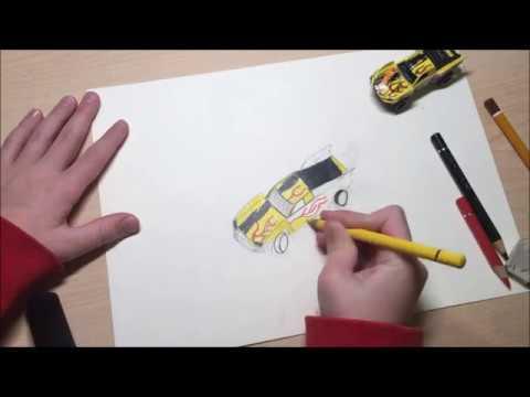 Рисуем цветными карандашами джип Hot Wheels. Пошаговая инструкция