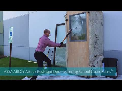 ASSA ABLOY Attack Resistant Door Featuring School Guard Glass Compared with Security Film