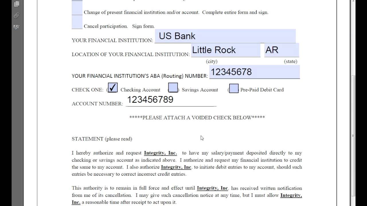 how to fill out direct deposit form