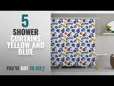Top 10 Shower Curtains Yellow And Blue [2018]: Flower Decor Shower Curtain by Ambesonne, Nature