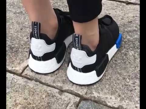 1e4320a962bcf 2017 best replica Adidas NMD Runner Black - Blue On feet Video  from:motionyz.com