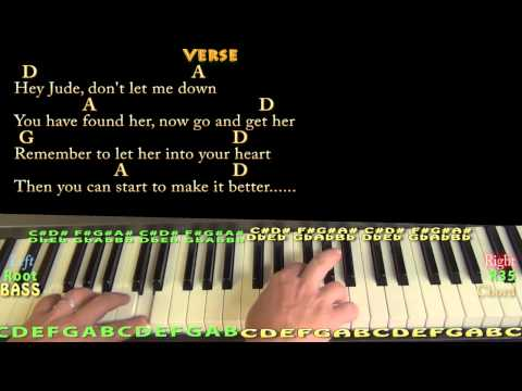 Hey Jude (The Beatles) Piano Cover Lesson in D with Chords/Lyrics