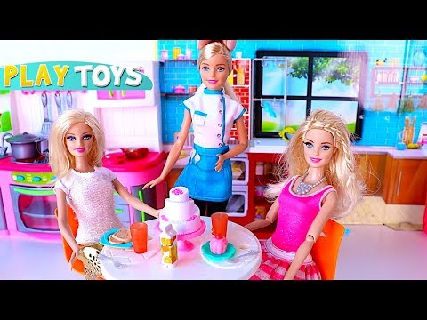 Thumbnail: Barbie Doll Dinner Party in the Dollhouse - Barbie chef kitchen toys dinner table set