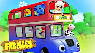 Wheels On The Bus | Bus Song | Farmees | Animal Sounds | Kids Tv