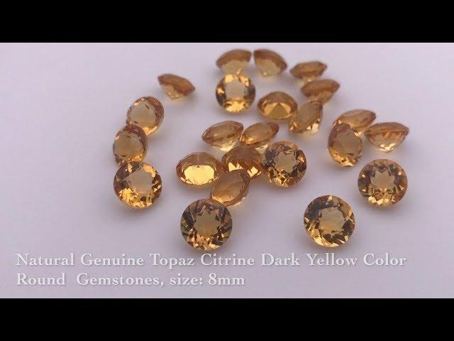 Natural Genuine Topaz Citrine Dark Yellow Color Round  Gemstones Suppliers