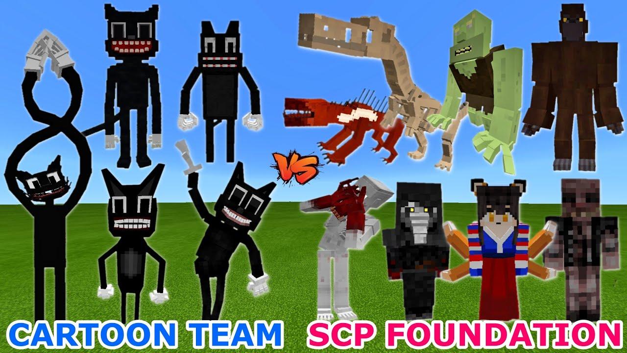 CARTOON CAT TEAM vs. SCP FOUNDATION in Minecraft | INSANE BATTLE