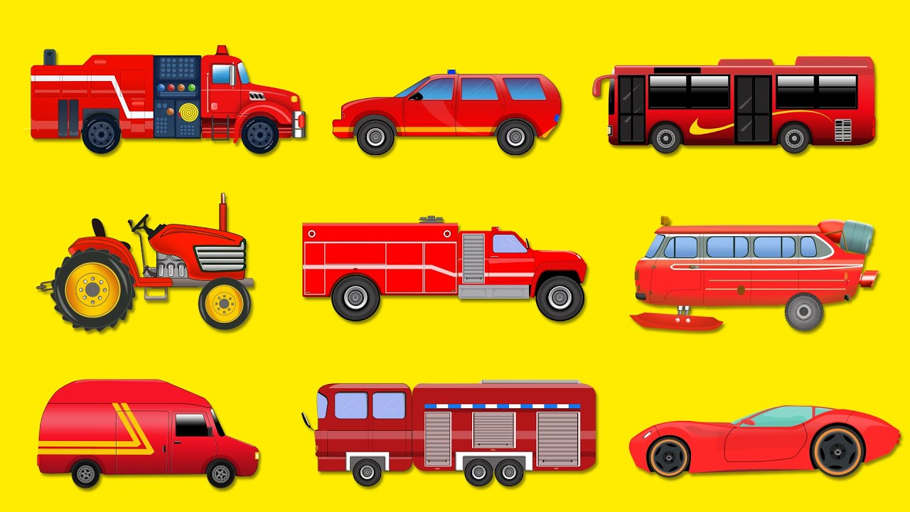 red vehicles toy cars and trucks educational video for kids preschoolers youtube