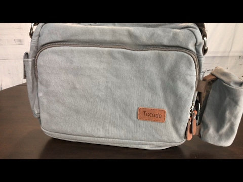 Gray Cotton Canvas Messenger Shoulder Bag for 14' laptops by Tocode review and giveaway