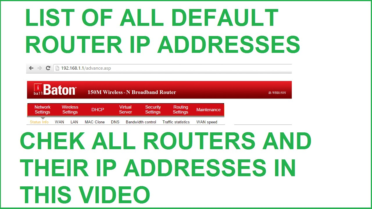 List of Default Router IP Addresses - Airlink,Asus,Belkin