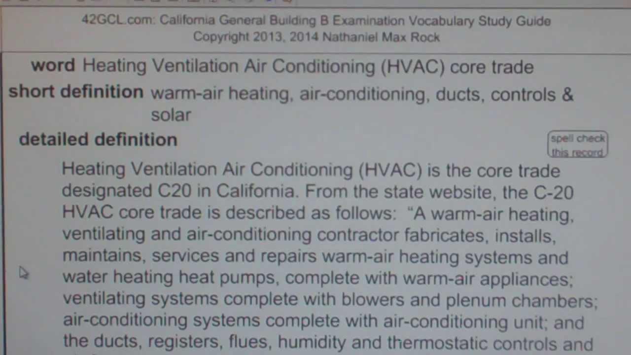 heating ventilation air conditioning  hvac  core trade gce42 com general contractors exam top