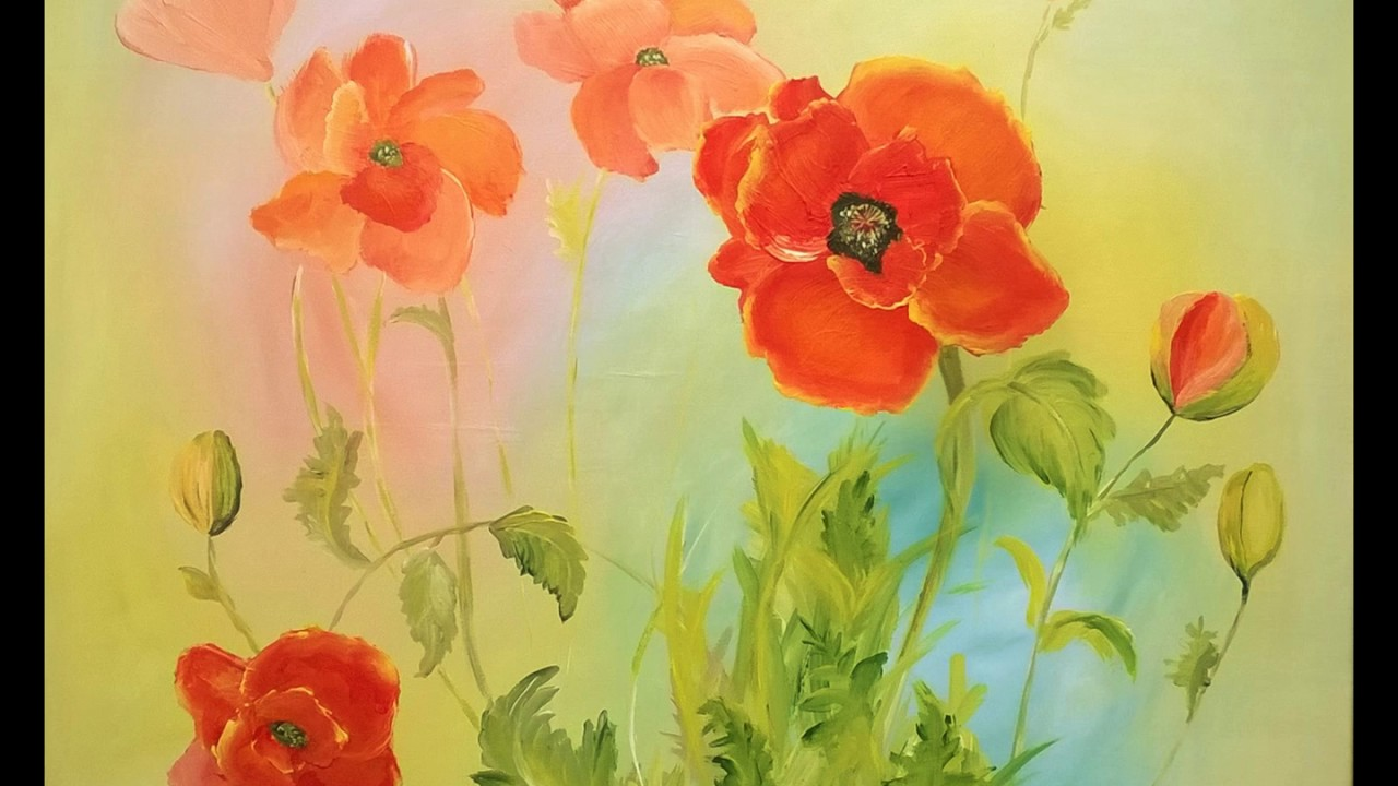 Mohnblumen Malen In Acryl Youtube