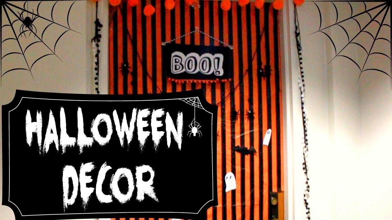 HALLOWEEN DOOR DECOR 2016 // Dorm Room - YouTube