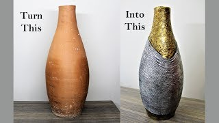 How to decorate a vase using rope and aluminium foil.