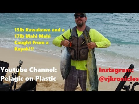 Extreme kayak fishing hawaii mahi mahi dorado kawakawa for Kayak fishing hawaii