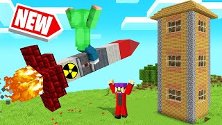 FLYING NUCLEAR MISSILES In MINECRAFT! (Building Rockets)