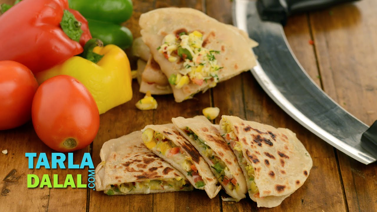 Corn and cheese quesadillas by tarla dalal youtube forumfinder Images