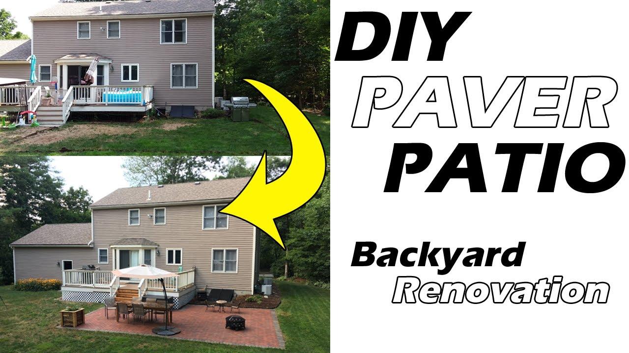 one guy diy backyard makeover herringbone paver patio how to install a patio backyard renovation