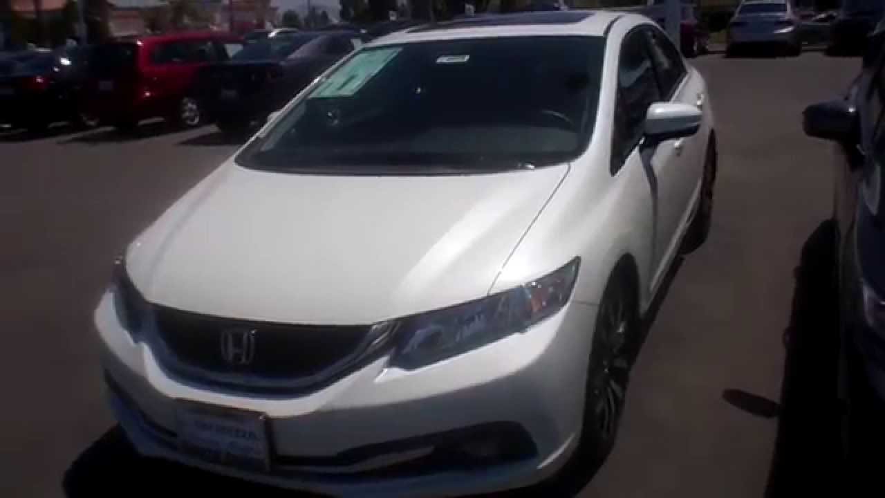 2014 Honda Civic EXL Navigation Orchid white pearl  YouTube