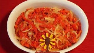 cómo preparar ensalada de pimientos asados con cebolla