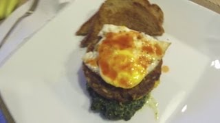 Awesome Healthy Breakfast - Black Bean Burger, Egg, Spinach, Whole Wheat Toast, Blueberries