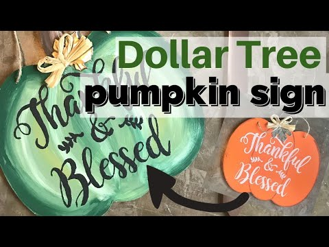 Painted Pumpkin Dollar Store Sign