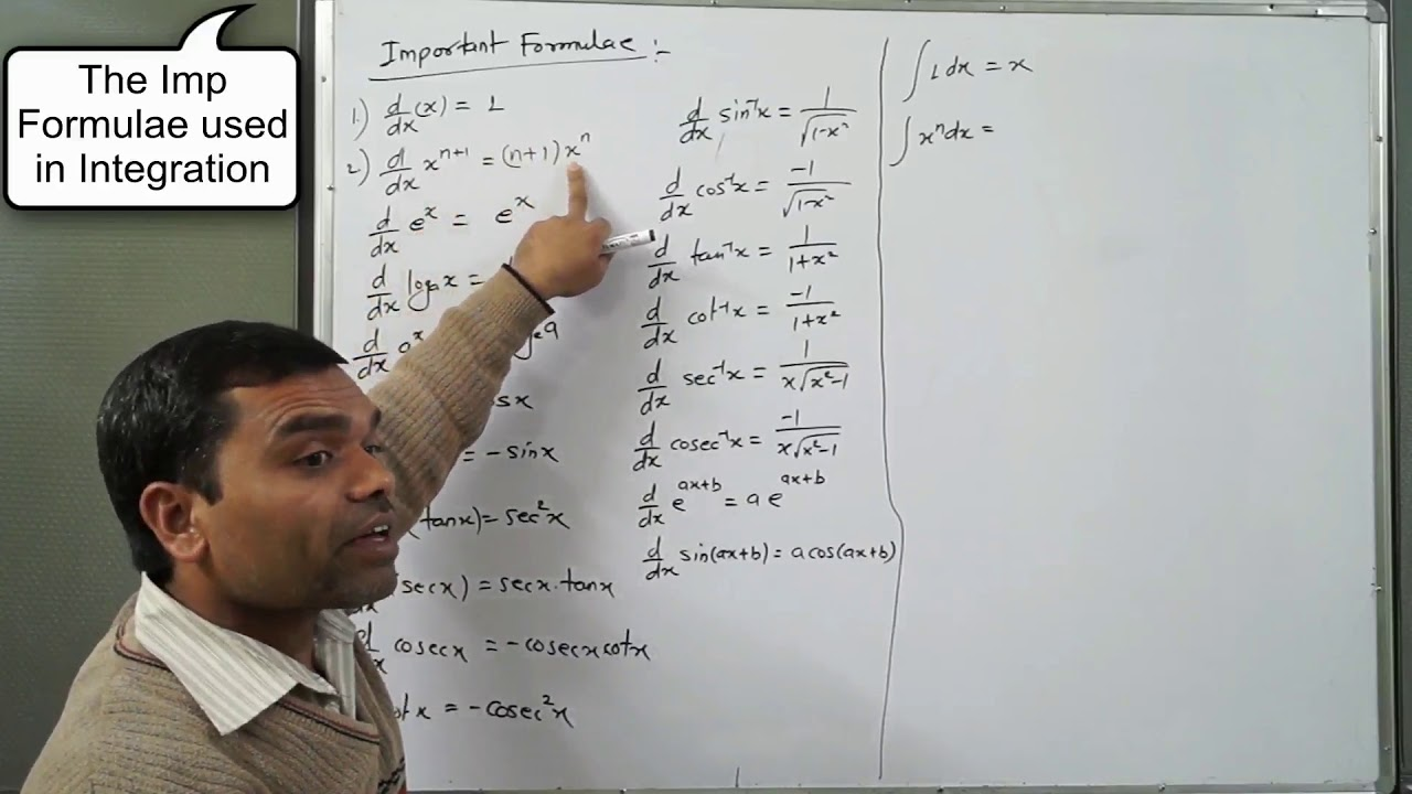 Basic Differentiation And Integration Formula In Hindi